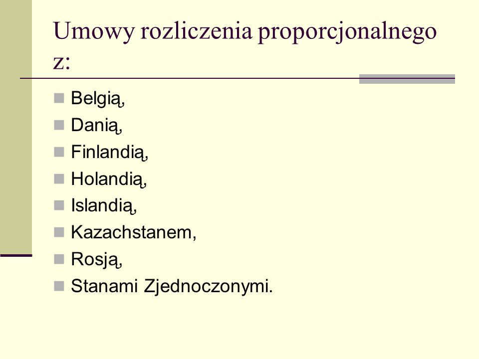 Umowy rozliczenia proporcjonalnego z: