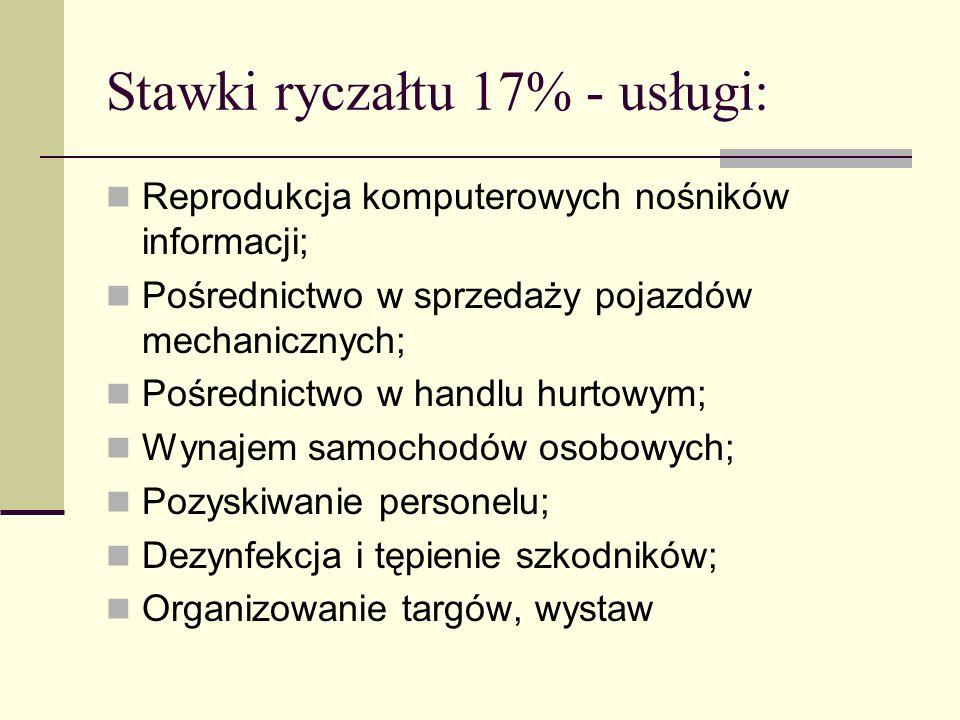 Stawki ryczałtu 17% - usługi: