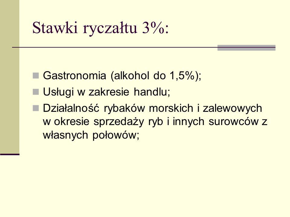 Stawki ryczałtu 3%: Gastronomia (alkohol do 1,5%);