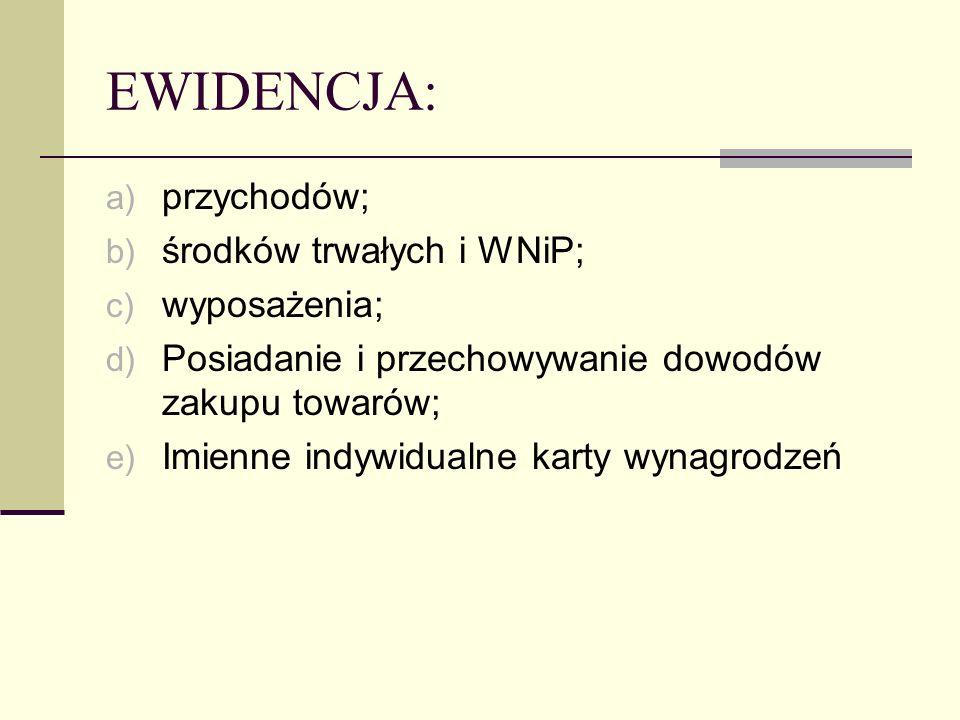 EWIDENCJA: przychodów; środków trwałych i WNiP; wyposażenia;