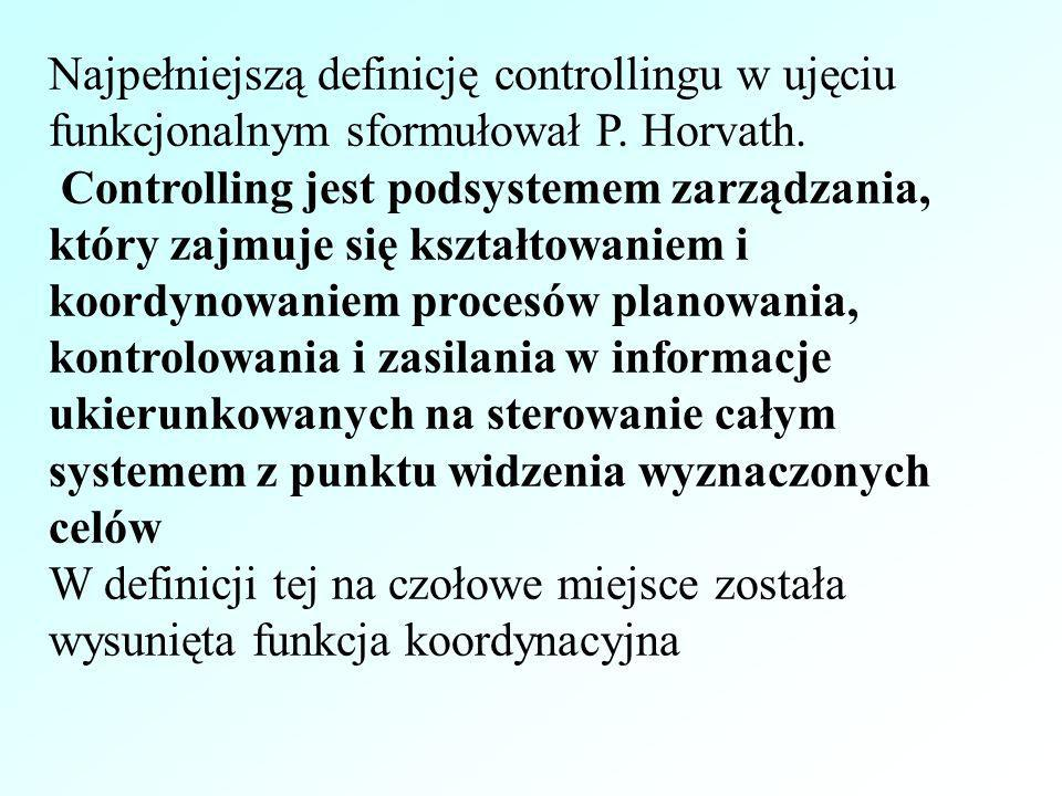 Najpełniejszą definicję controllingu w ujęciu funkcjonalnym sformułował P. Horvath.