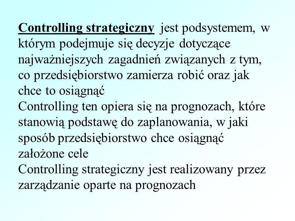 Controlling strategiczny jest podsystemem, w którym podejmuje się decyzje dotyczące najważniejszych zagadnień związanych z tym, co przedsiębiorstwo zamierza robić oraz jak chce to osiągnąć
