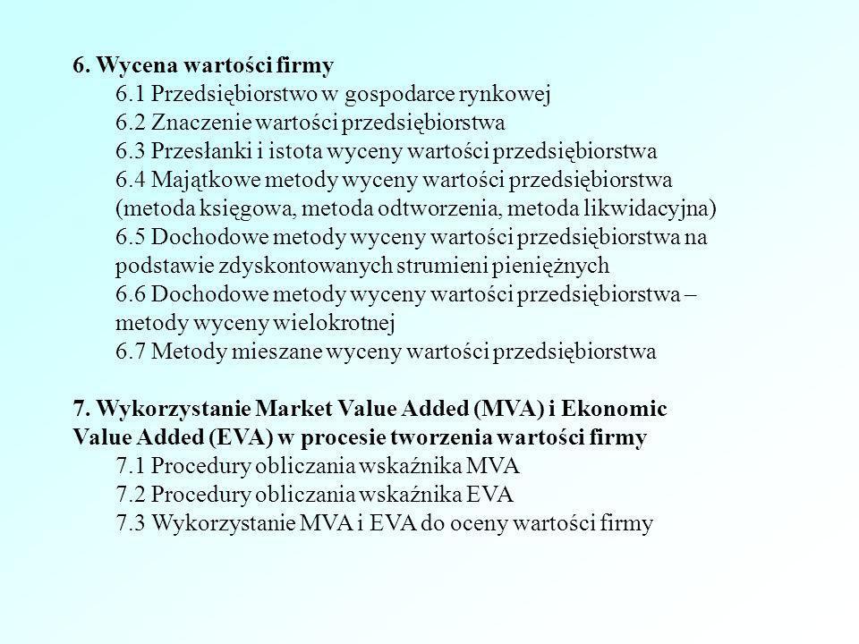 6. Wycena wartości firmy 6.1 Przedsiębiorstwo w gospodarce rynkowej. 6.2 Znaczenie wartości przedsiębiorstwa.