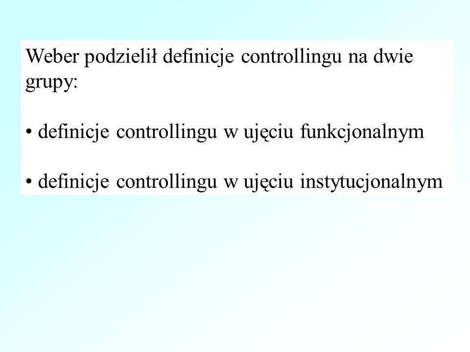 Weber podzielił definicje controllingu na dwie grupy: