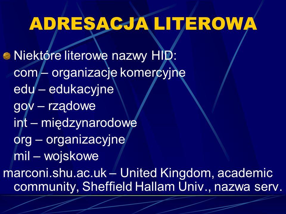 ADRESACJA LITEROWA Niektóre literowe nazwy HID: