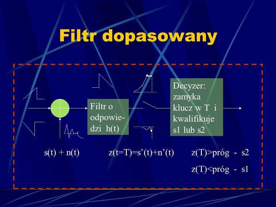 Filtr dopasowany Decyzer: zamyka klucz w T i kwalifikuje s1 lub s2
