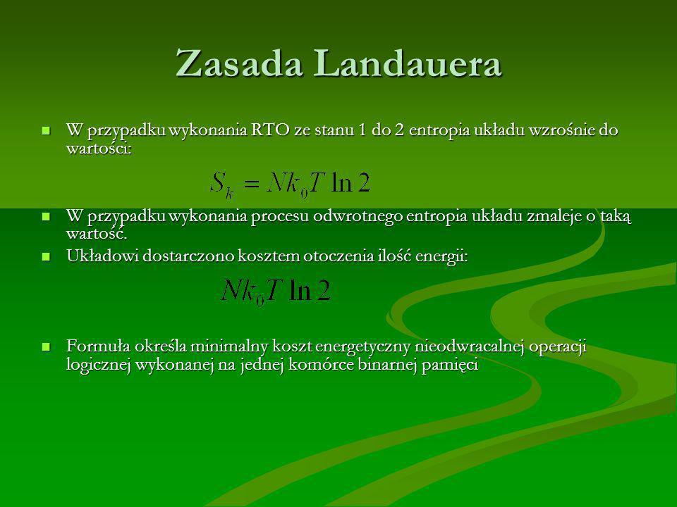 Zasada Landauera W przypadku wykonania RTO ze stanu 1 do 2 entropia układu wzrośnie do wartości:
