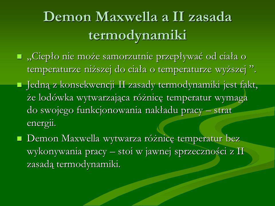 Demon Maxwella a II zasada termodynamiki