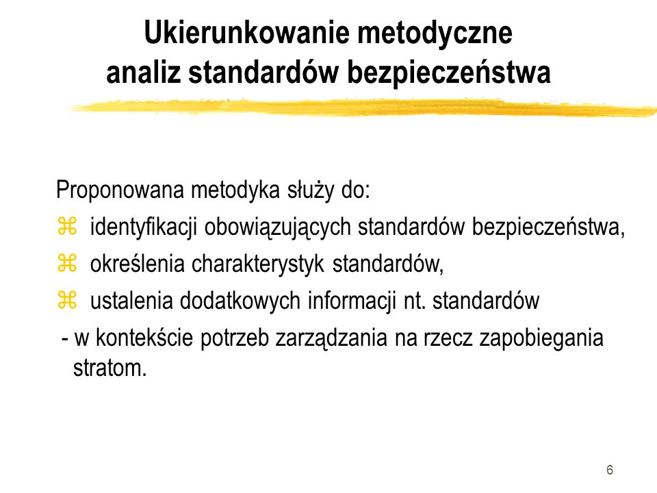 Ukierunkowanie metodyczne analiz standardów bezpieczeństwa