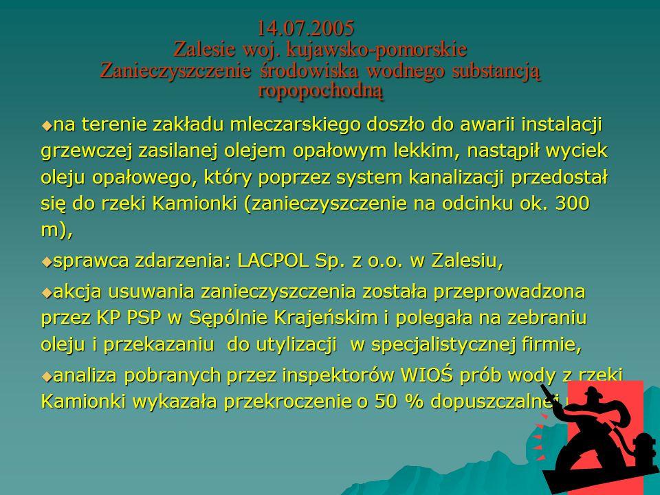 14.07.2005 Zalesie woj. kujawsko-pomorskie Zanieczyszczenie środowiska wodnego substancją ropopochodną