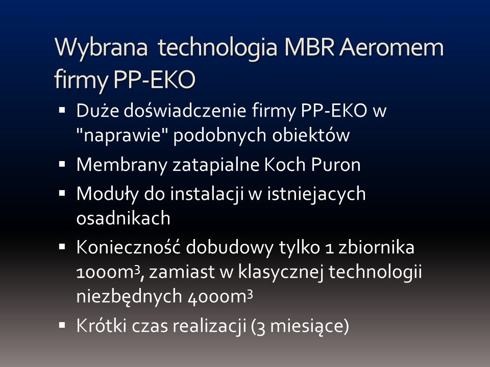 Wybrana technologia MBR Aeromem firmy PP-EKO