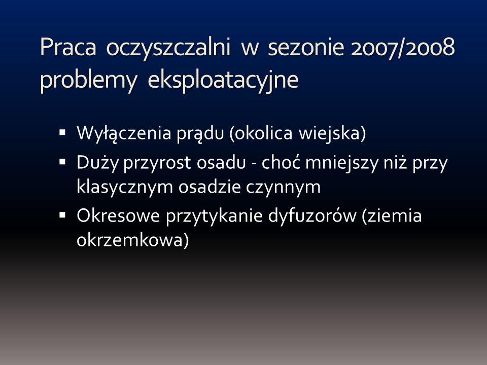 Praca oczyszczalni w sezonie 2007/2008 problemy eksploatacyjne