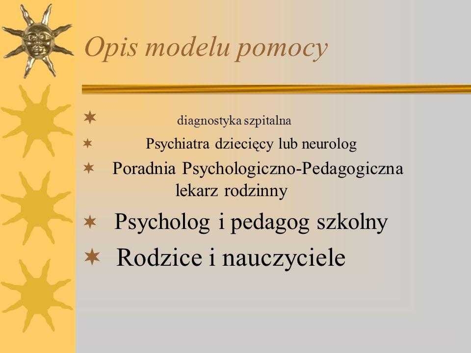 Opis modelu pomocy Rodzice i nauczyciele diagnostyka szpitalna