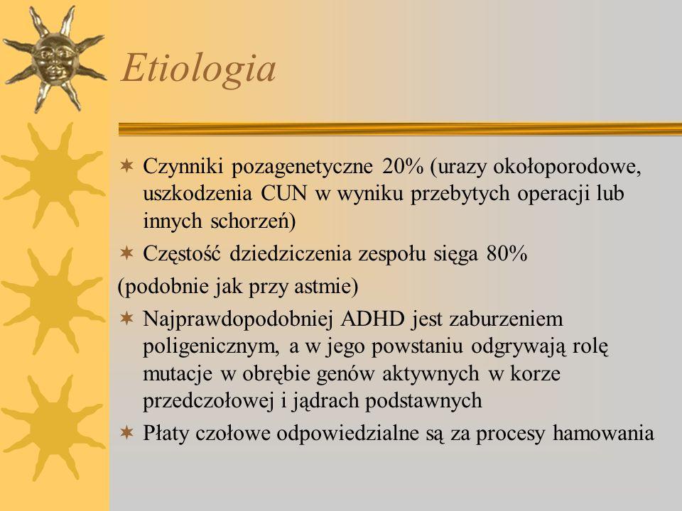 Etiologia Czynniki pozagenetyczne 20% (urazy okołoporodowe, uszkodzenia CUN w wyniku przebytych operacji lub innych schorzeń)
