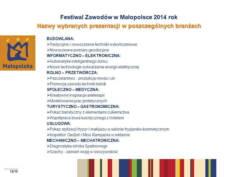 Festiwal Zawodów w Małopolsce 2014 rok