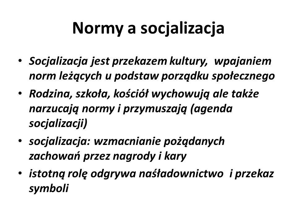 Normy a socjalizacja Socjalizacja jest przekazem kultury, wpajaniem norm leżących u podstaw porządku społecznego.