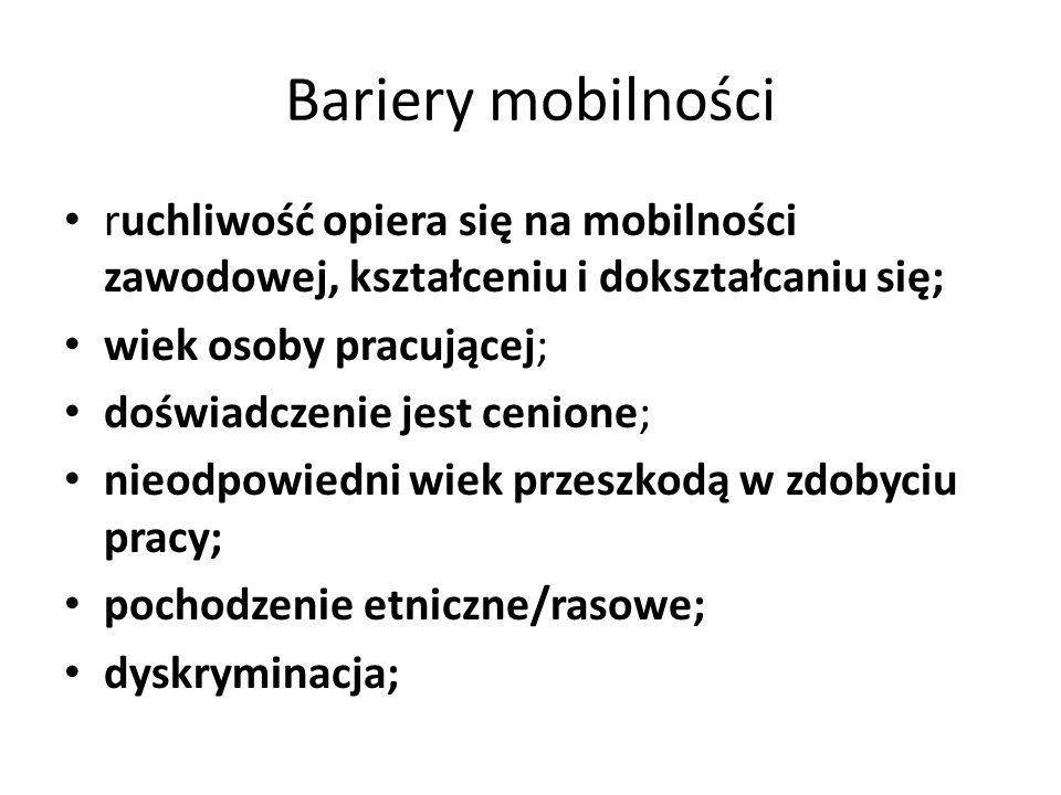 Bariery mobilności ruchliwość opiera się na mobilności zawodowej, kształceniu i dokształcaniu się; wiek osoby pracującej;