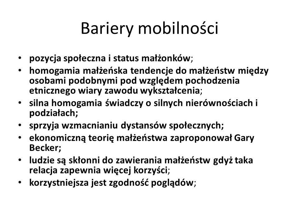 Bariery mobilności pozycja społeczna i status małżonków;
