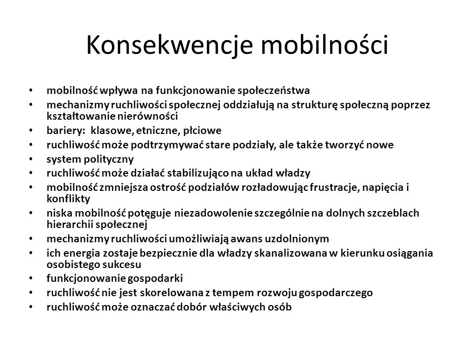 Konsekwencje mobilności