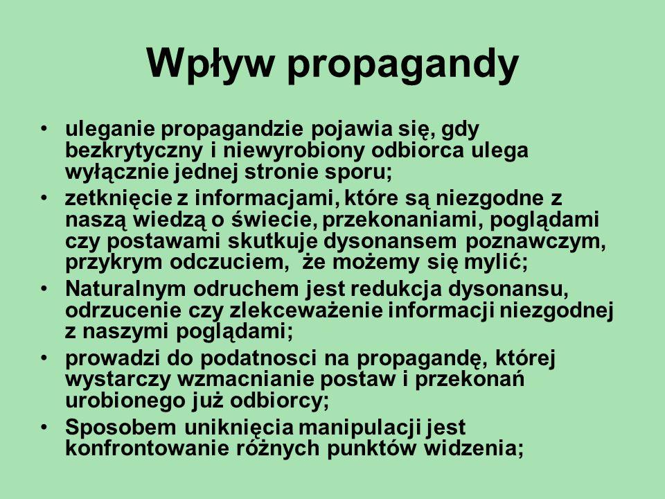 Wpływ propagandy uleganie propagandzie pojawia się, gdy bezkrytyczny i niewyrobiony odbiorca ulega wyłącznie jednej stronie sporu;