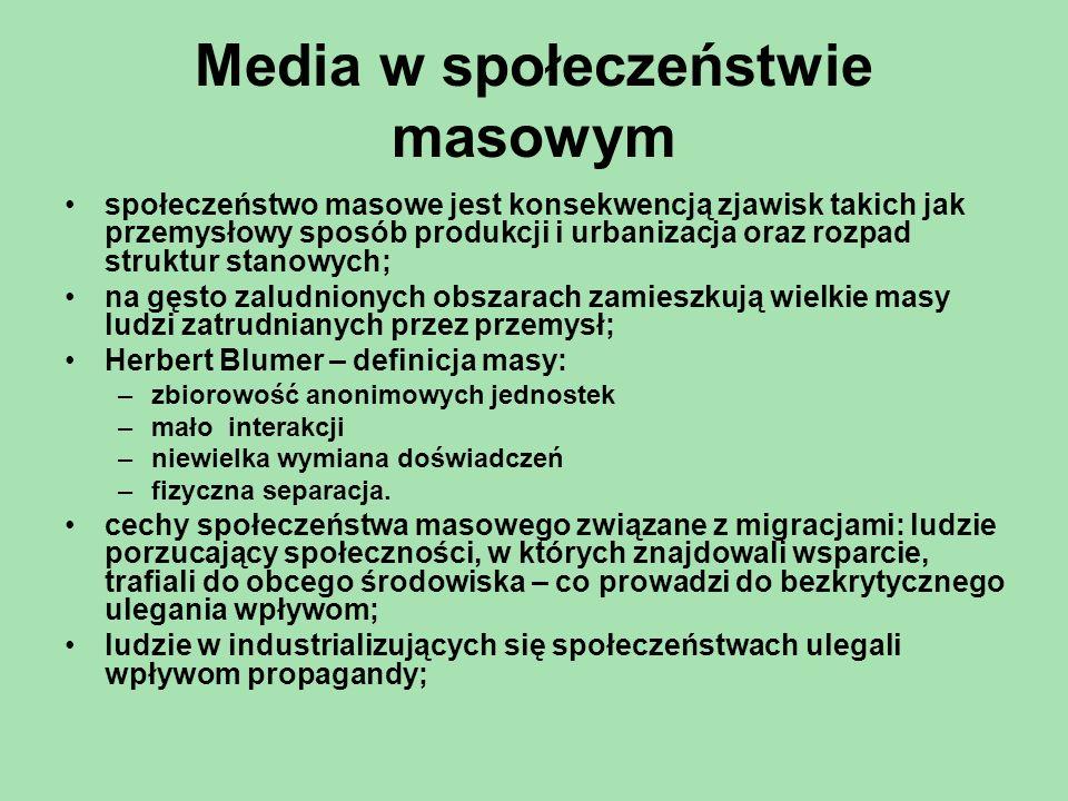 Media w społeczeństwie masowym