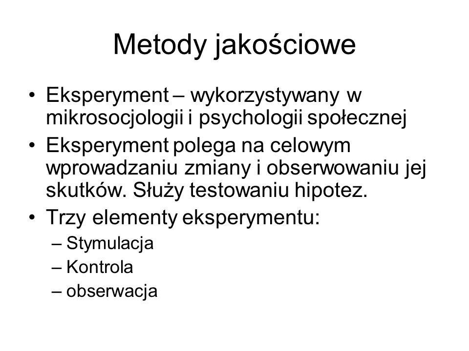 Metody jakościowe Eksperyment – wykorzystywany w mikrosocjologii i psychologii społecznej.