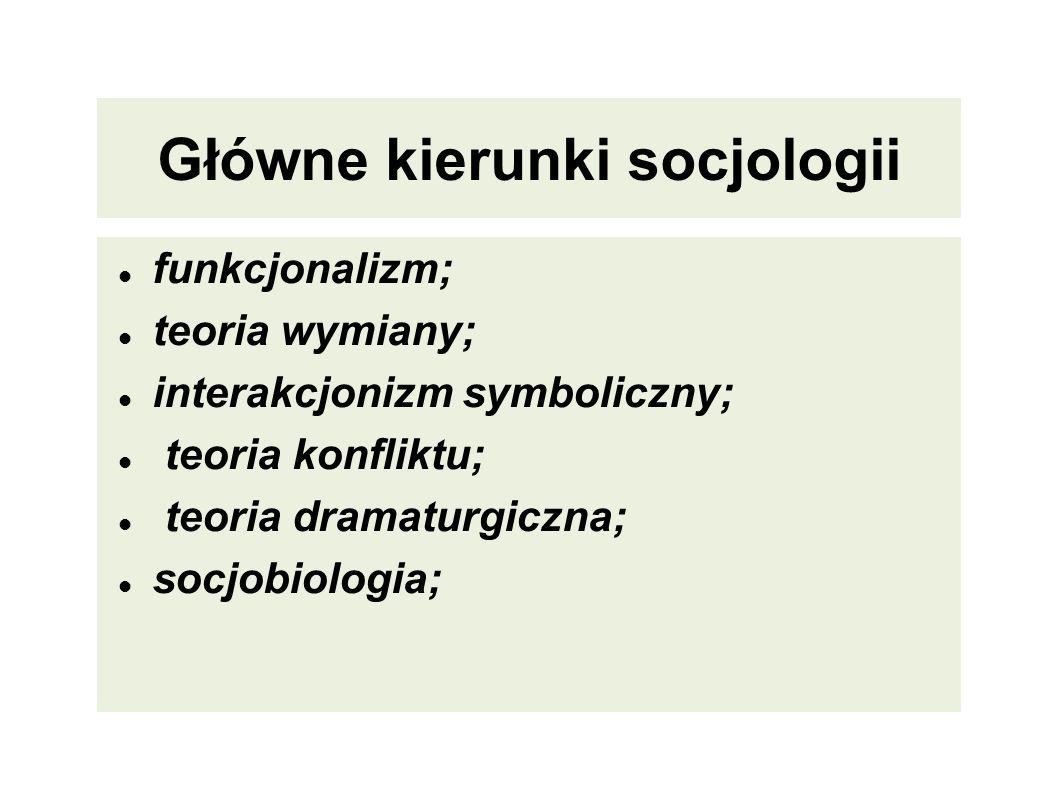 Główne kierunki socjologii Główne kierunki socjologii