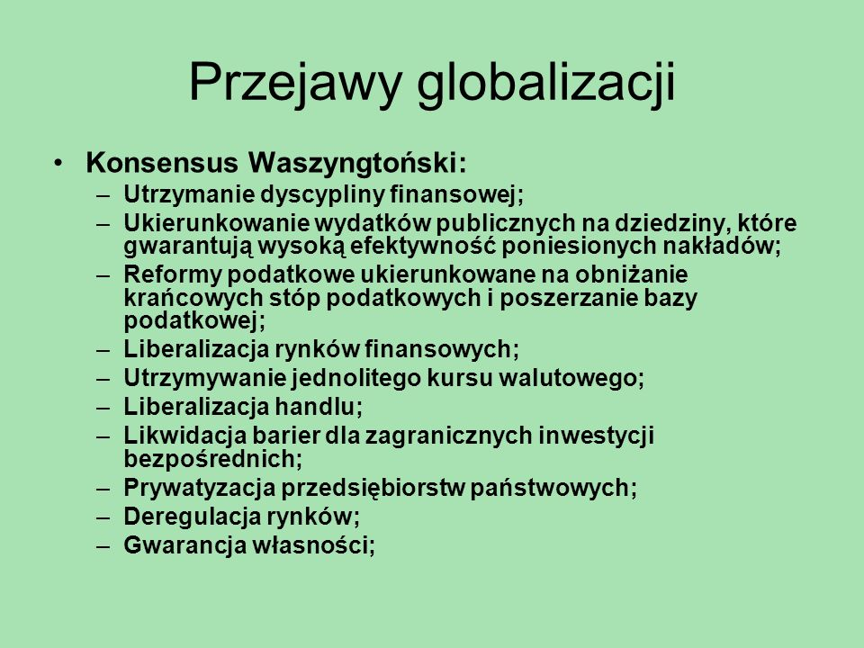 Przejawy globalizacji