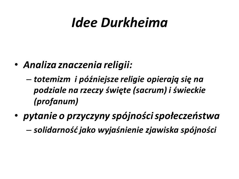 Idee Durkheima Analiza znaczenia religii: