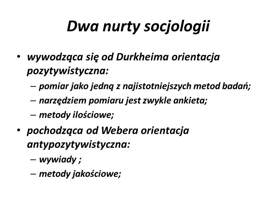 Dwa nurty socjologii wywodząca się od Durkheima orientacja pozytywistyczna: pomiar jako jedną z najistotniejszych metod badań;