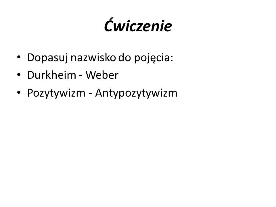 Ćwiczenie Dopasuj nazwisko do pojęcia: Durkheim - Weber