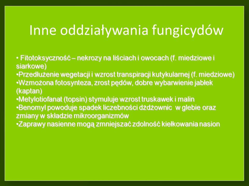 Inne oddziaływania fungicydów