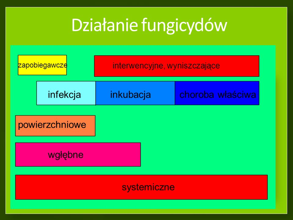 Działanie fungicydów infekcja inkubacja choroba właściwa