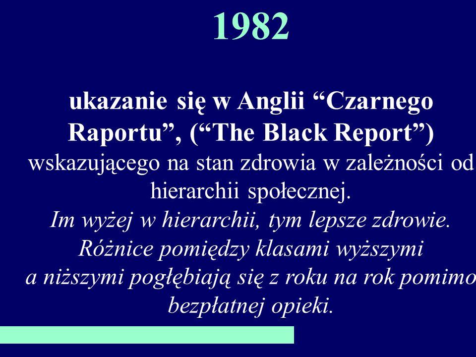 1982 ukazanie się w Anglii Czarnego Raportu , ( The Black Report ) wskazującego na stan zdrowia w zależności od hierarchii społecznej.