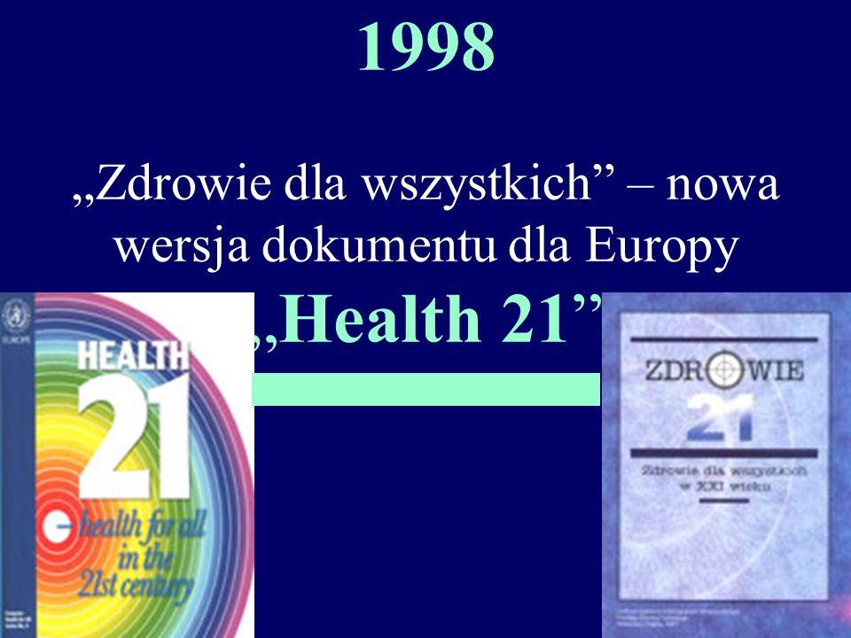 """1998 """"Zdrowie dla wszystkich – nowa wersja dokumentu dla Europy """"Health 21"""