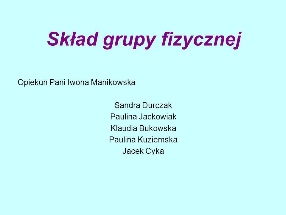 Skład grupy fizycznej Opiekun Pani Iwona Manikowska Sandra Durczak