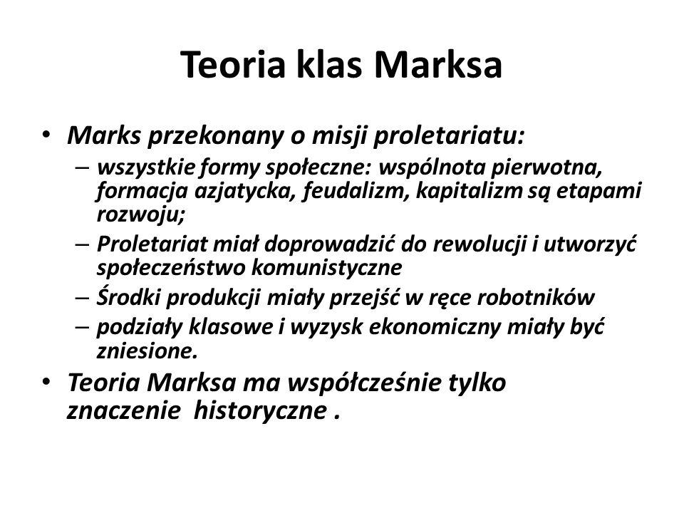 Teoria klas Marksa Marks przekonany o misji proletariatu: