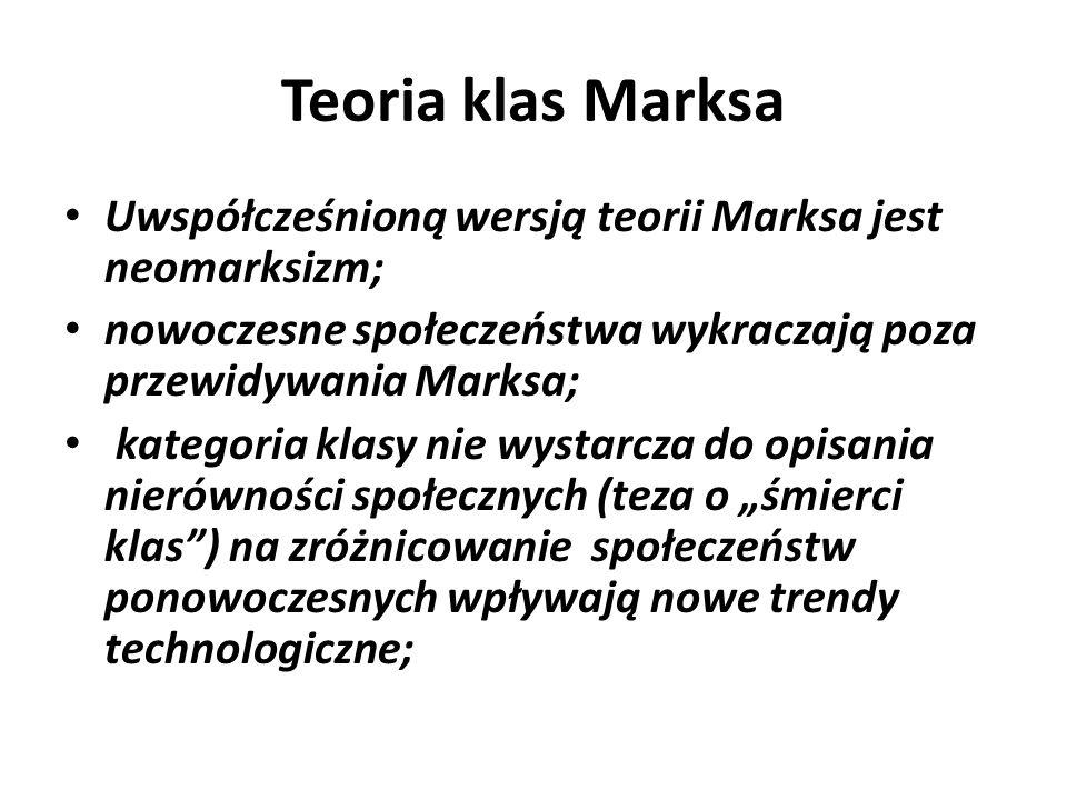 Teoria klas Marksa Uwspółcześnioną wersją teorii Marksa jest neomarksizm; nowoczesne społeczeństwa wykraczają poza przewidywania Marksa;