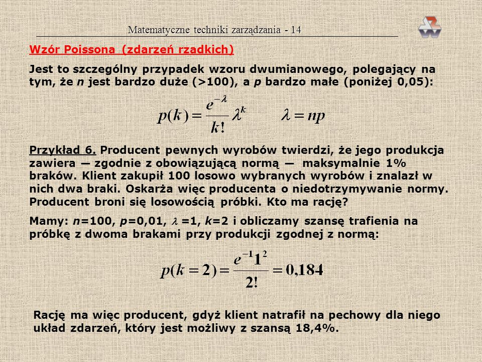 Matematyczne techniki zarządzania - 14