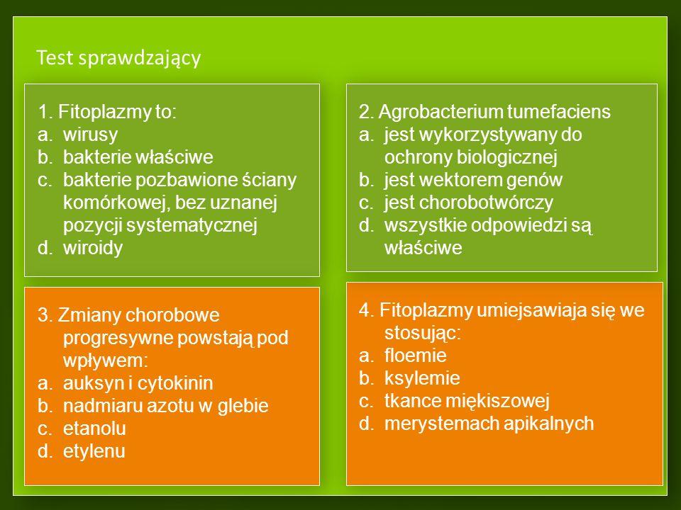 Test sprawdzający 1. Fitoplazmy to: wirusy bakterie właściwe