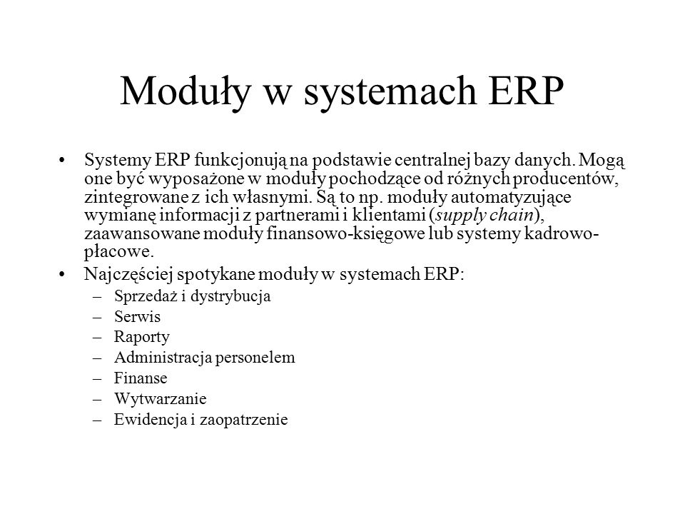 Moduły w systemach ERP