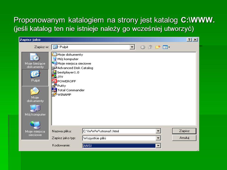 Proponowanym katalogiem na strony jest katalog C:\WWW