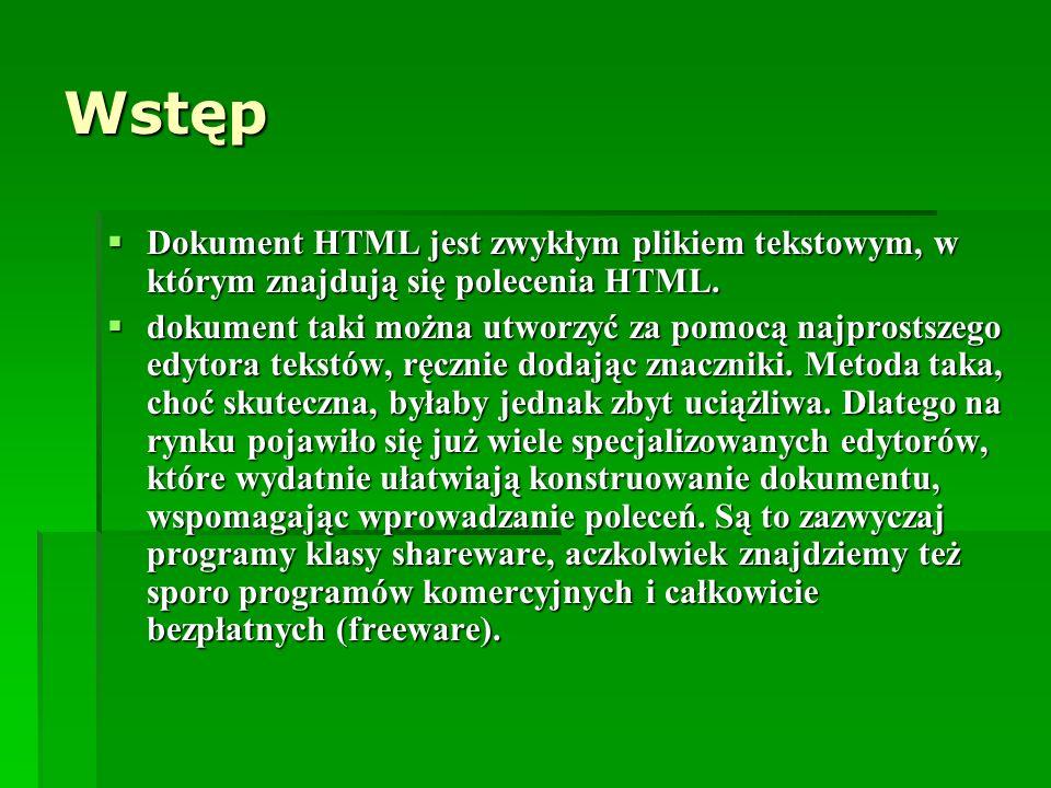 Wstęp Dokument HTML jest zwykłym plikiem tekstowym, w którym znajdują się polecenia HTML.