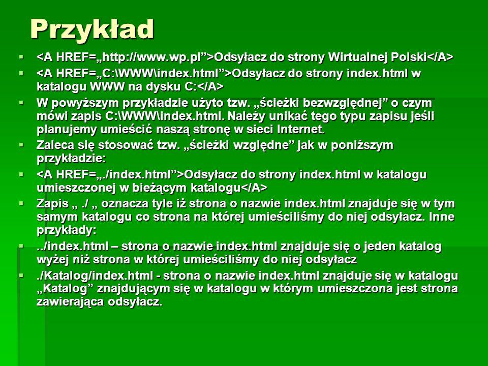 """Przykład <A HREF=""""http://www.wp.pl >Odsyłacz do strony Wirtualnej Polski</A>"""