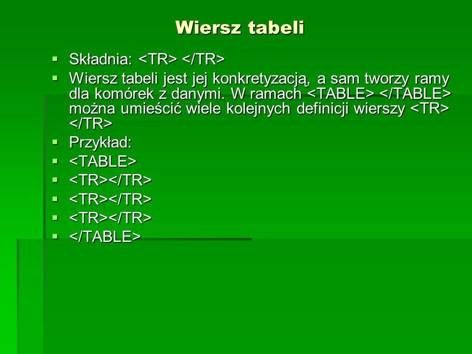 Wiersz tabeli Składnia: <TR> </TR>