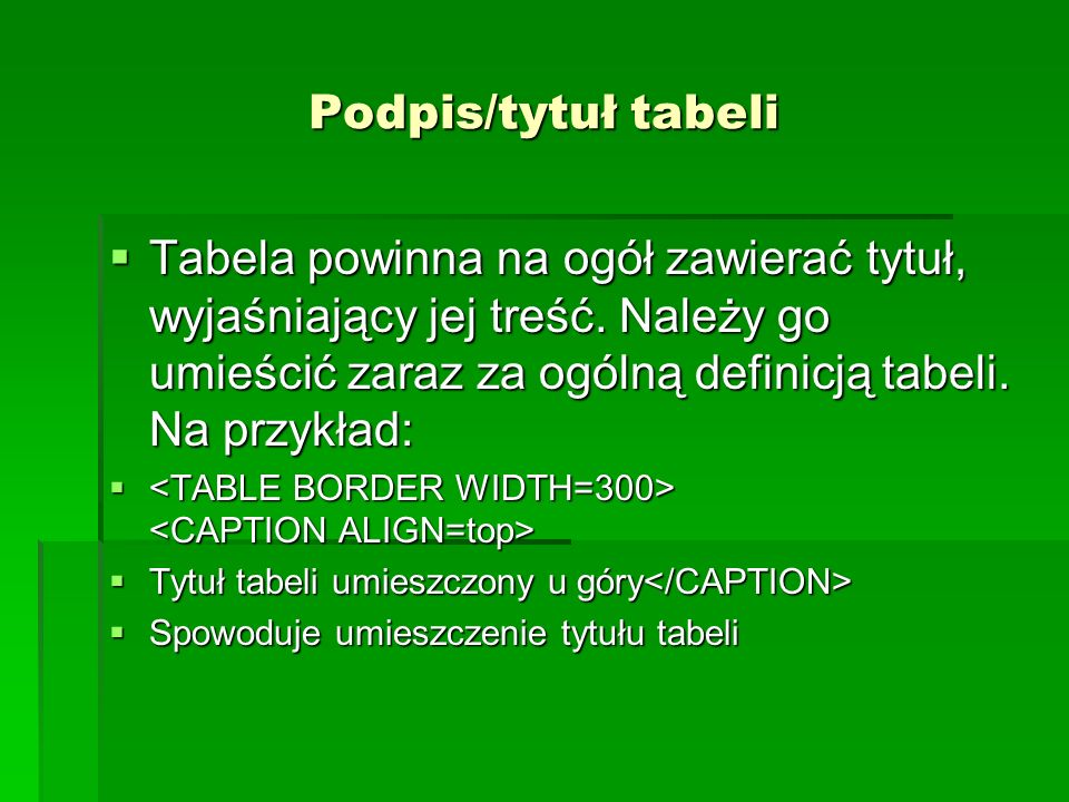 Podpis/tytuł tabeli Tabela powinna na ogół zawierać tytuł, wyjaśniający jej treść. Należy go umieścić zaraz za ogólną definicją tabeli. Na przykład: