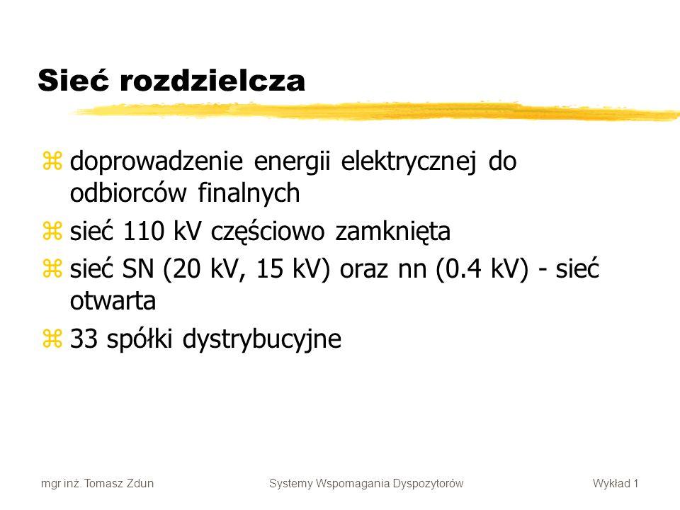 Sieć rozdzielcza doprowadzenie energii elektrycznej do odbiorców finalnych. sieć 110 kV częściowo zamknięta.