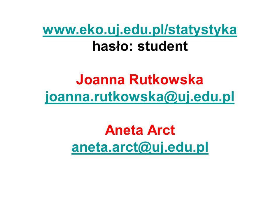 www.eko.uj.edu.pl/statystyka hasło: student. Joanna Rutkowska. joanna.rutkowska@uj.edu.pl. Aneta Arct.