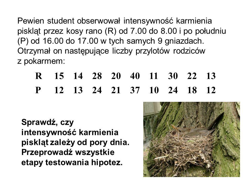 Pewien student obserwował intensywność karmienia piskląt przez kosy rano (R) od 7.00 do 8.00 i po południu (P) od 16.00 do 17.00 w tych samych 9 gniazdach. Otrzymał on następujące liczby przylotów rodziców z pokarmem: