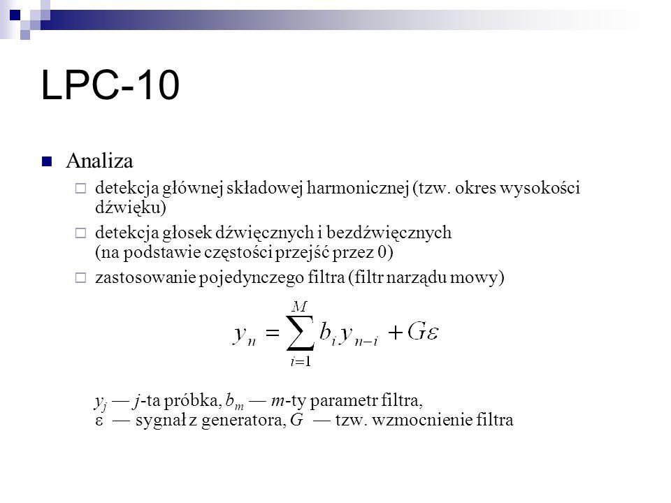 LPC-10 Analiza. detekcja głównej składowej harmonicznej (tzw. okres wysokości dźwięku)